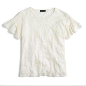 J. Crew Linen White Flutter Sleeve T-Shirt Top